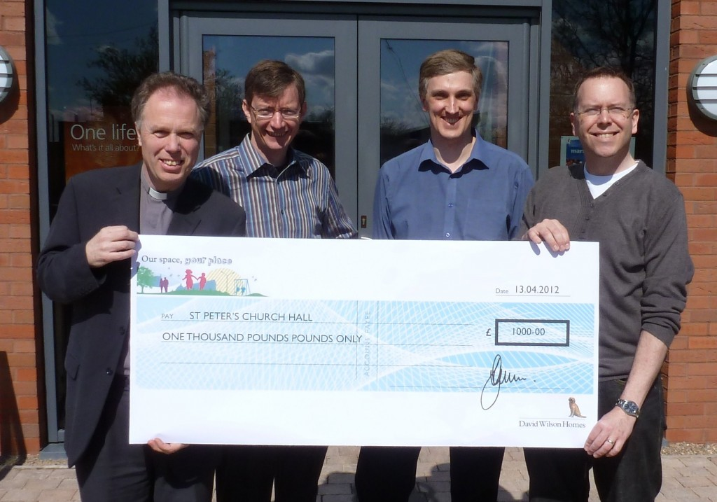 David Wilson Homes North West makes a donation to St Peter's Church in Sandbach