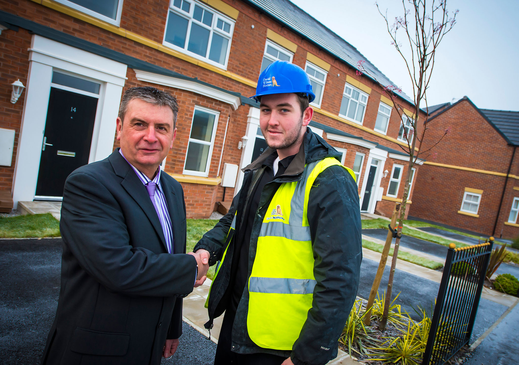 L-R David Wilson Homes North West Build Manager Peter Crowney and apprentice Ryan Owens
