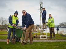 DWH - David Wilson Homes donate trees and  £250 for wheelchair covers for children  to Overwater Marina, Coole Lane, Newhall, Nantwich, Cheshire   Picture dMark Lucy from DWH and David Johnson from the Marina