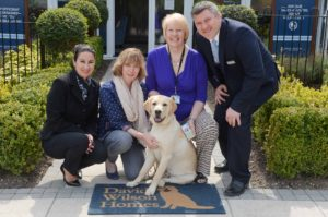 L-R - Carol Ridgeway of DWH, Helen Livermore who looks after Wilson the gudie dog with Diane Mager and Yannick Malboef of DWH