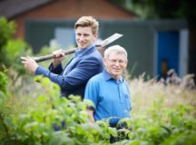 David Wilson Homes help Alsager Gardens Association buy a toilet and tool storage for their Percy James Close allotments in  Alsager  Pictured Keith Biggs 78 and James Griffith DWH marketing executive officially open the toilet block