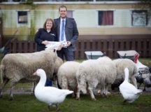 DAVID WILSON HOMES donate veterinarian supplies to Freshfields Animal Centre Blundell Merseyside, pictured Christopher  Watts and  Debbie Hughes at the centre