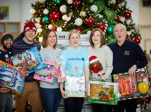 DAVID WILSON HOMES drop off the collection of Christmas presents their staff have donated to Alder Hey Children's Hospital  Pictured the DWH team with Hayley Thomas   from the hospital