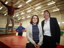 Christelle Lightfoot (cream top)  from David Wilson Homes pop into The Wingate Centre in Nantwich after the house builder donated crash mats to the gym used by children with special needs.   Pictured from the centre Jo Young from marketing (black top) Spence Lightfoot (maroon)  Natalie Leroux (blue top)