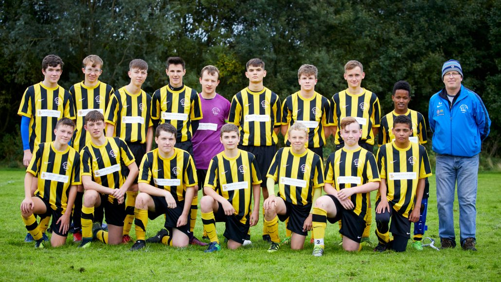Highfield Grange FC under 15s sporting their new David Wilson Homes sponsored kit.