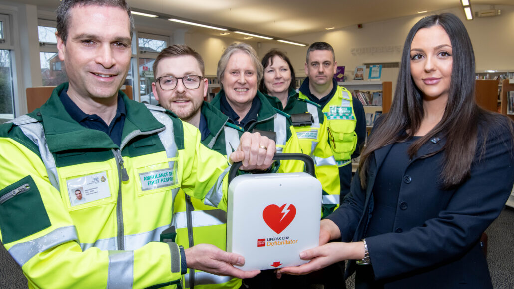 David Wilson Homes has donated a defibrillator to Chorley First Responders.  PIC shows L-R: Deryck Whitehead (team leader), Liam Turner, Sheila Cronin, Sandra Goulden, Wayne Warner and Emily Sharples (DWH sales adviser).